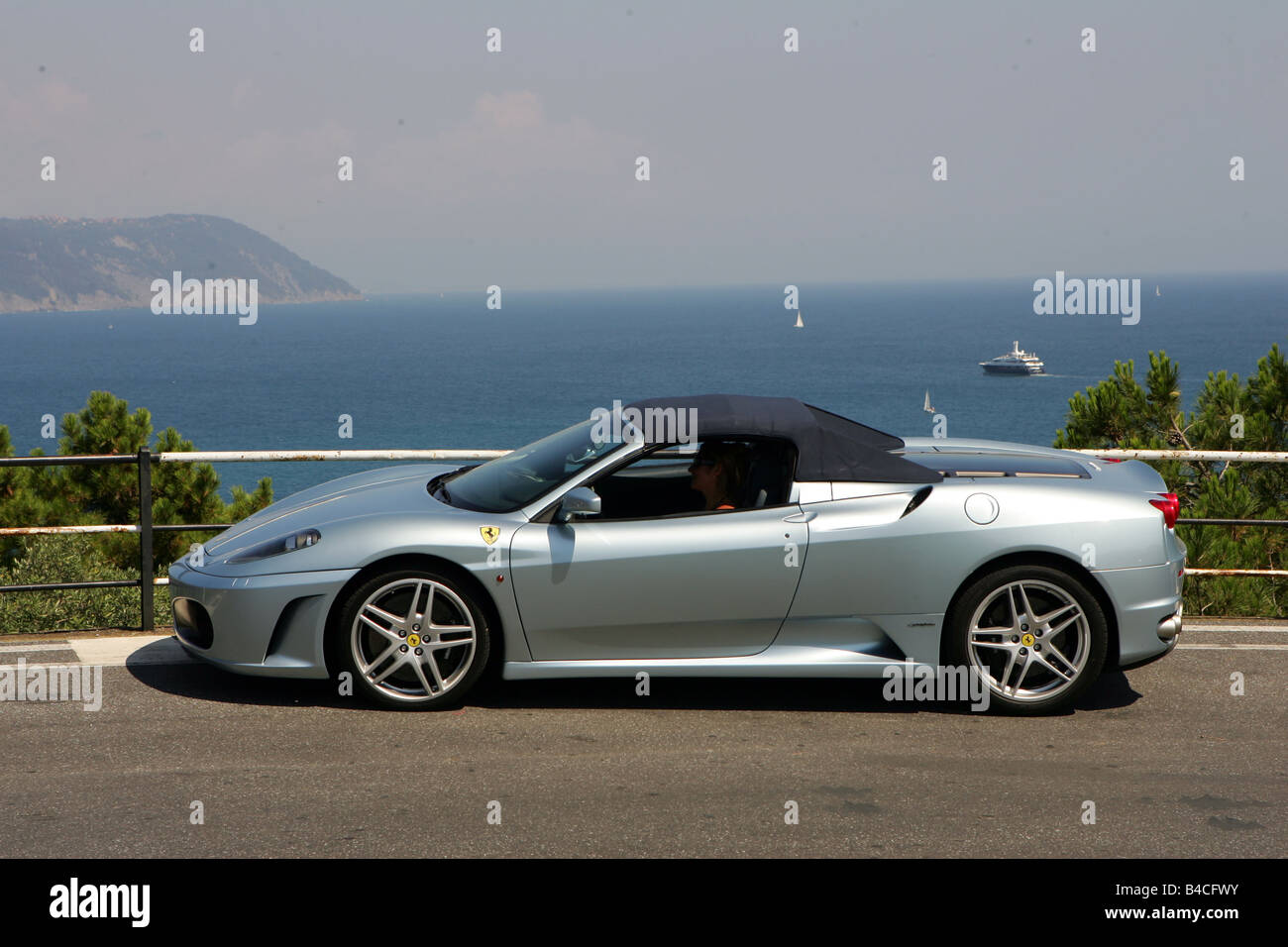 Ferrari f430 spider f1 stock photos ferrari f430 spider f1 stock car ferrari f430 spider f1 model year 2005 silver convertible vanachro Images