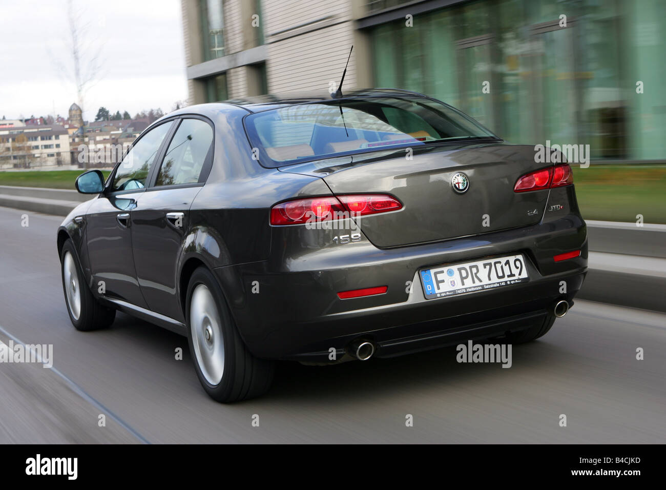 alfa romeo 159 2 4 jtdm 20v model year 2005 anthracite driving stock photo royalty free. Black Bedroom Furniture Sets. Home Design Ideas
