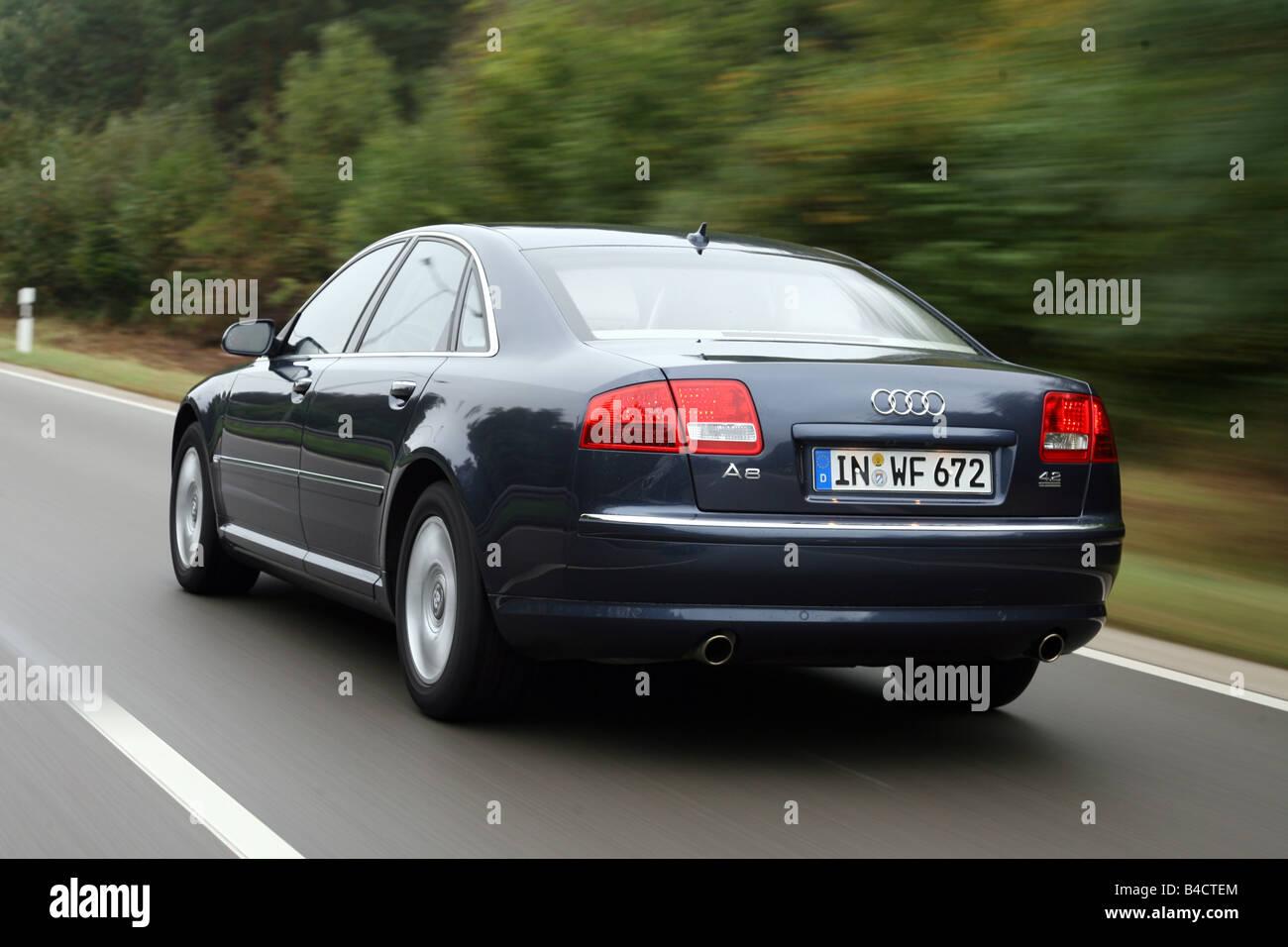 Audi a8 4 2 fsi quattro model year 2006 blue moving diagonal from
