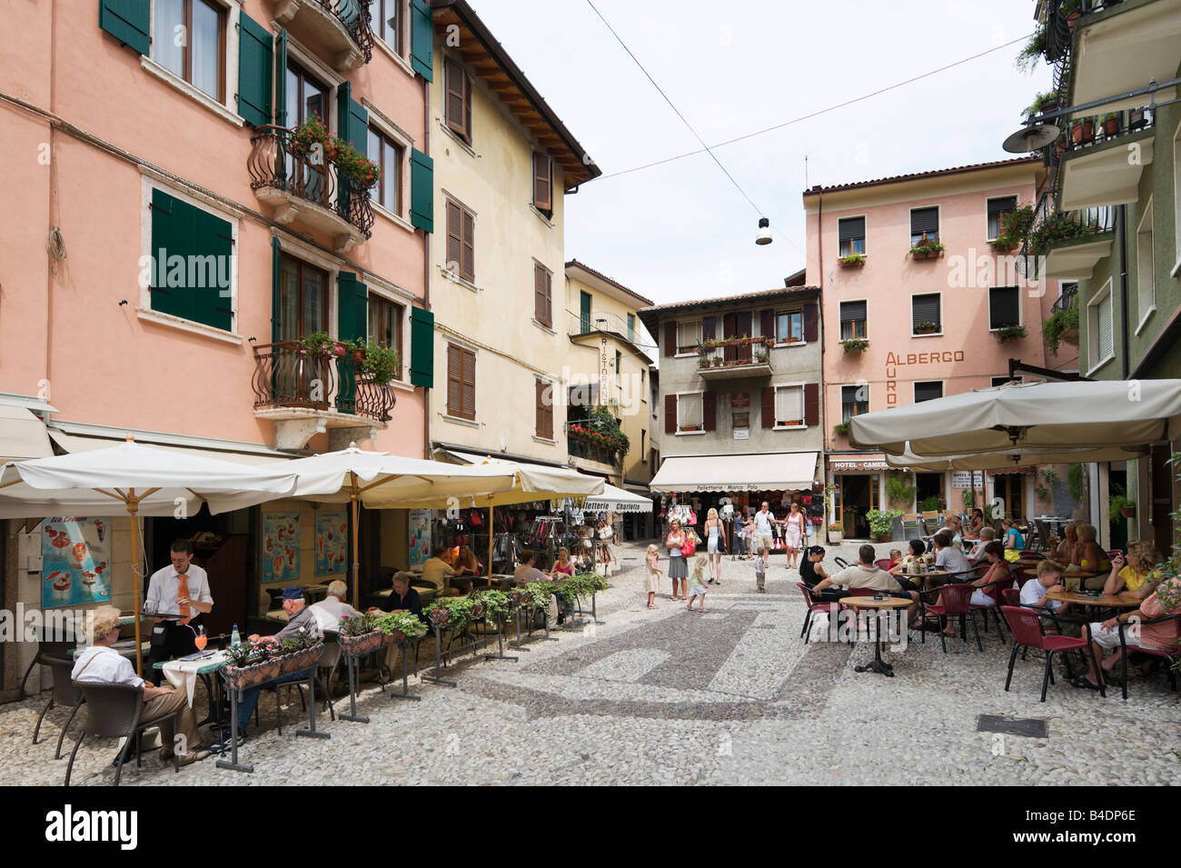 Street Cafes In The Centre Of The Old Town Malcesine Lake Garda Stock Photo Royalty Free