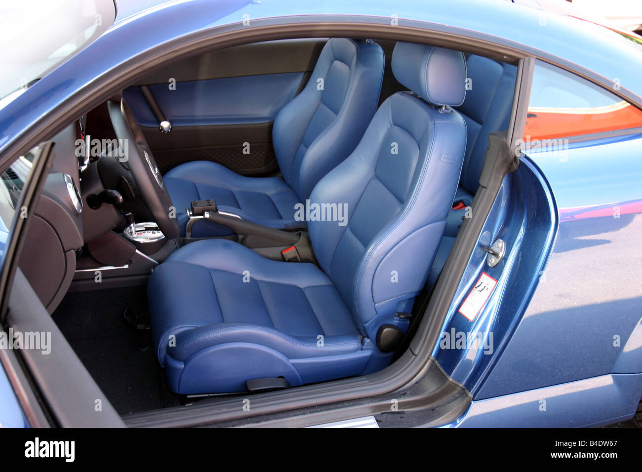 car audi tt 3 2 coupe roadster model year 2003 blue interior stock photo royalty free. Black Bedroom Furniture Sets. Home Design Ideas