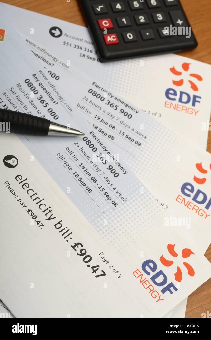 EDF Electricity Domestic Home Fuel Power Bill