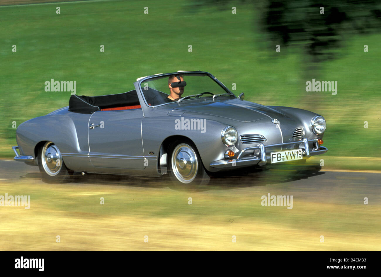 Car, VW, Volkswagen, Karmann Ghia Convertible, Model Year 1967, Silver,  Vintage Car, 1960s, Sixties, Convertible Top, Open, Dri
