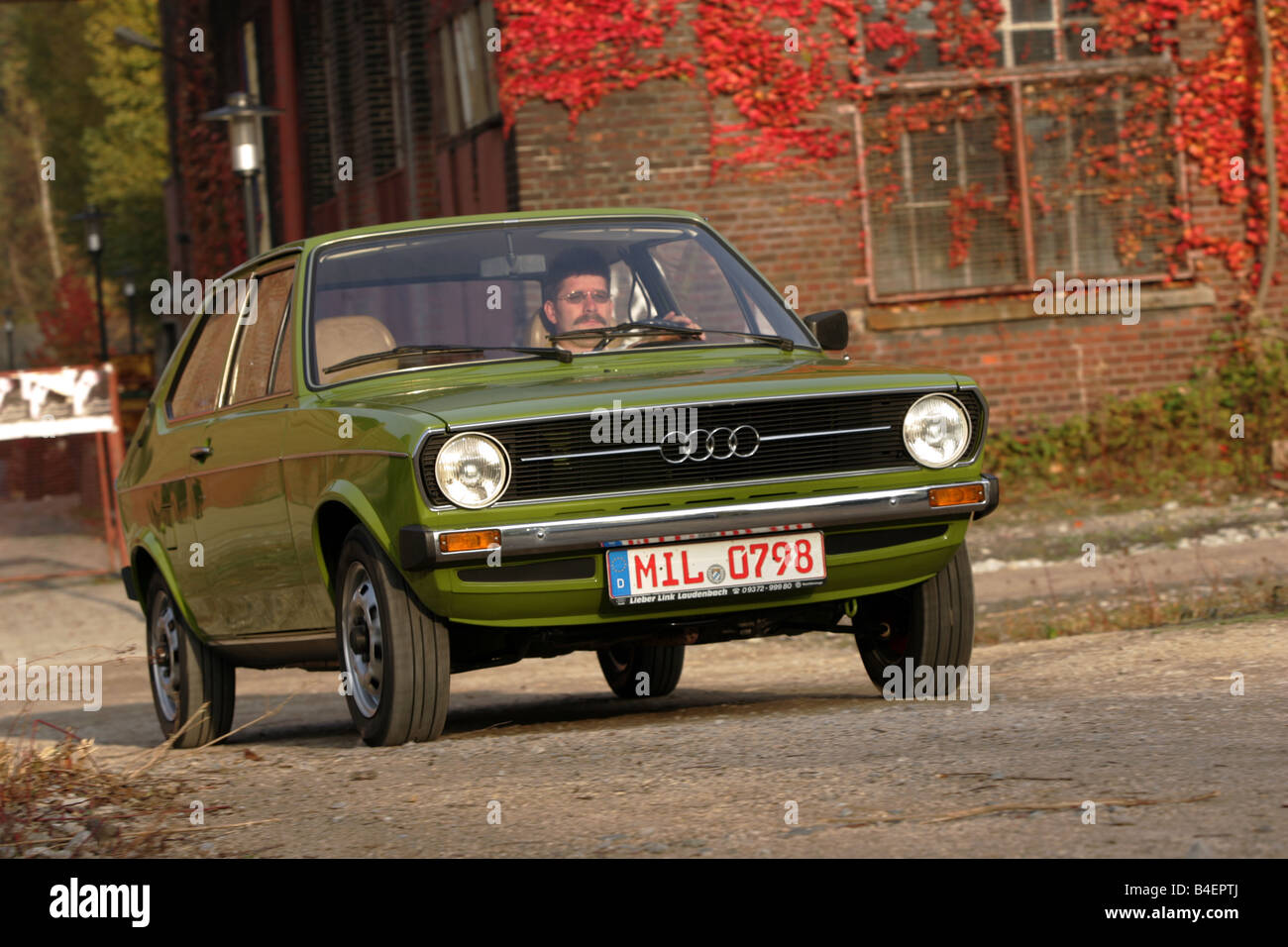 car audi 50 ls model year 1974 1978 green old car 1970s stock photo royalty free image. Black Bedroom Furniture Sets. Home Design Ideas