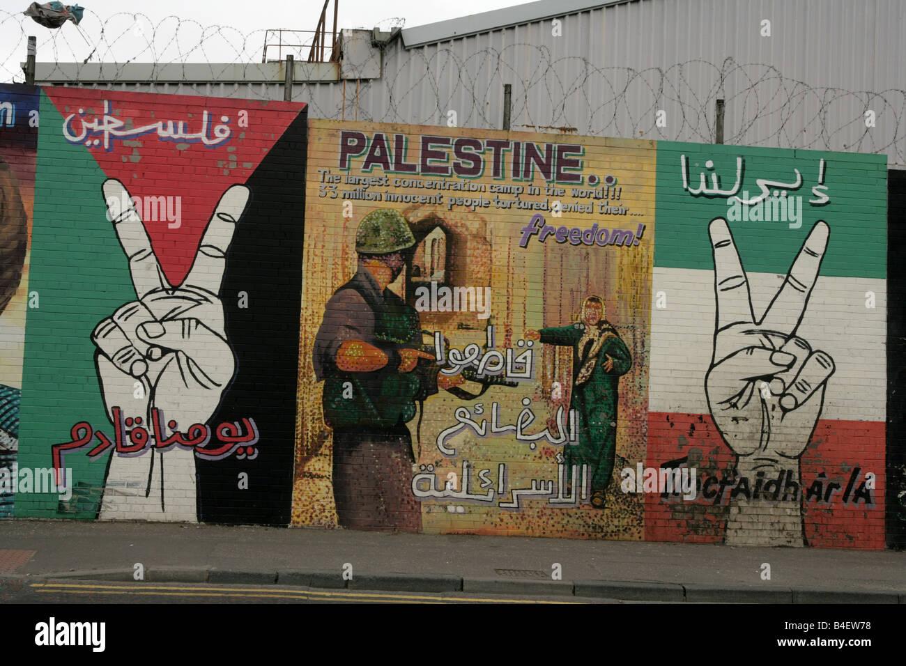 Republican murals in belfast northern ireland uk stock for Mural in belfast
