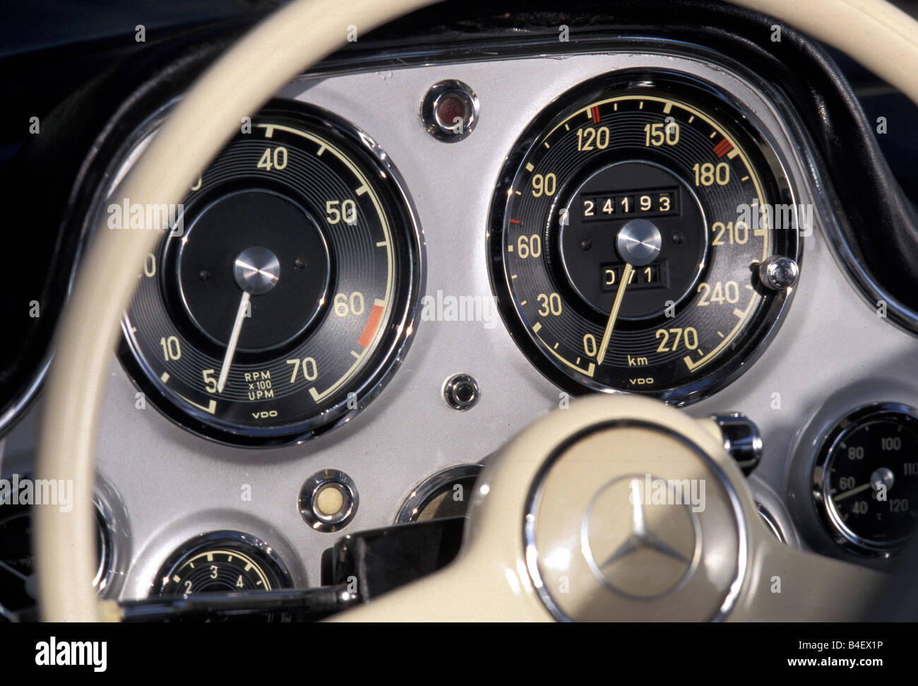 Car, Mercedes 300 SL, vintage car, detail, details, Cockpit Stock ... | {Auto cockpit mercedes 84}