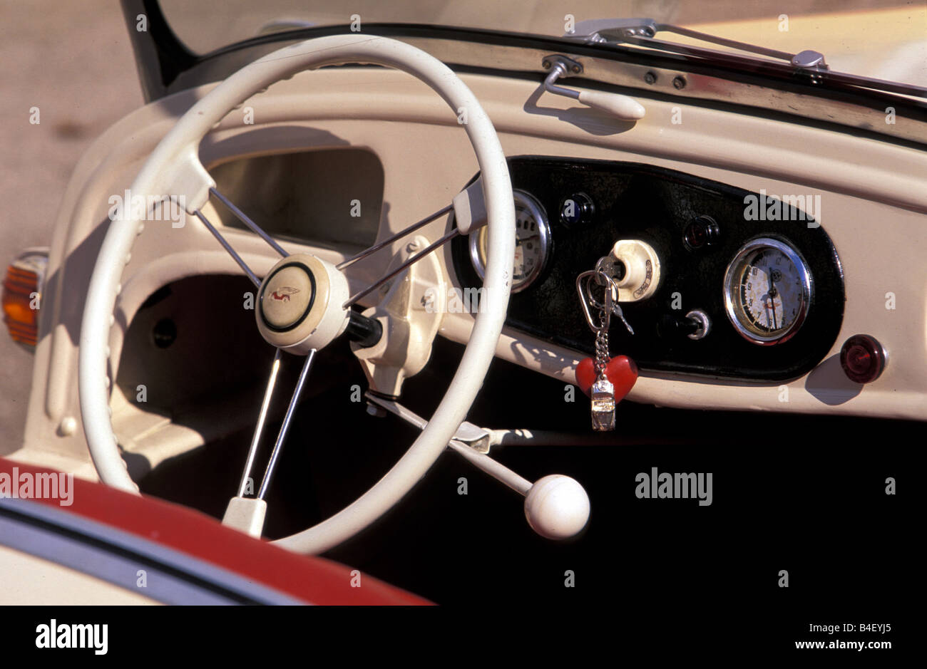 car kleinschnittger vintage car 1950s fifties white interior stock photo royalty free. Black Bedroom Furniture Sets. Home Design Ideas