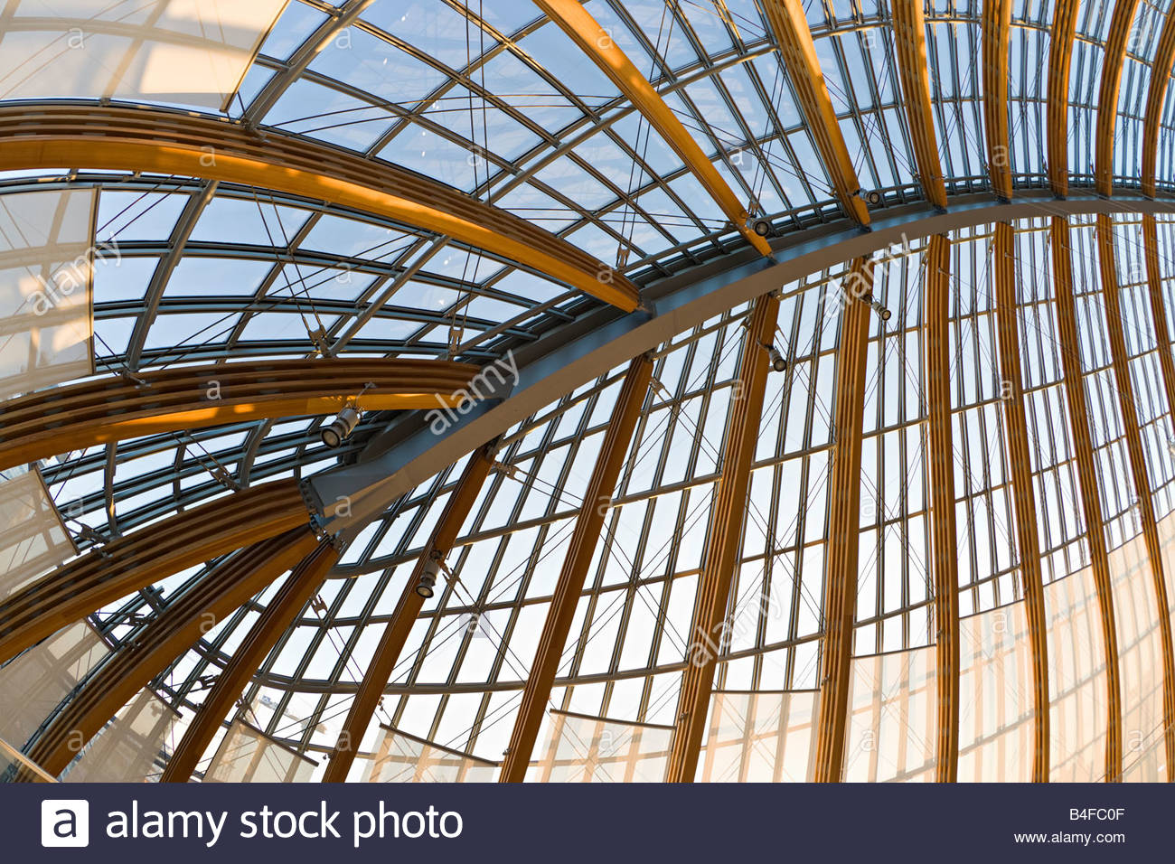 Modern Architecture Barrel Vault Roof Attic Wood Glass Construction Peek Cloppenburg Clothing Store Cologne Germany Europe