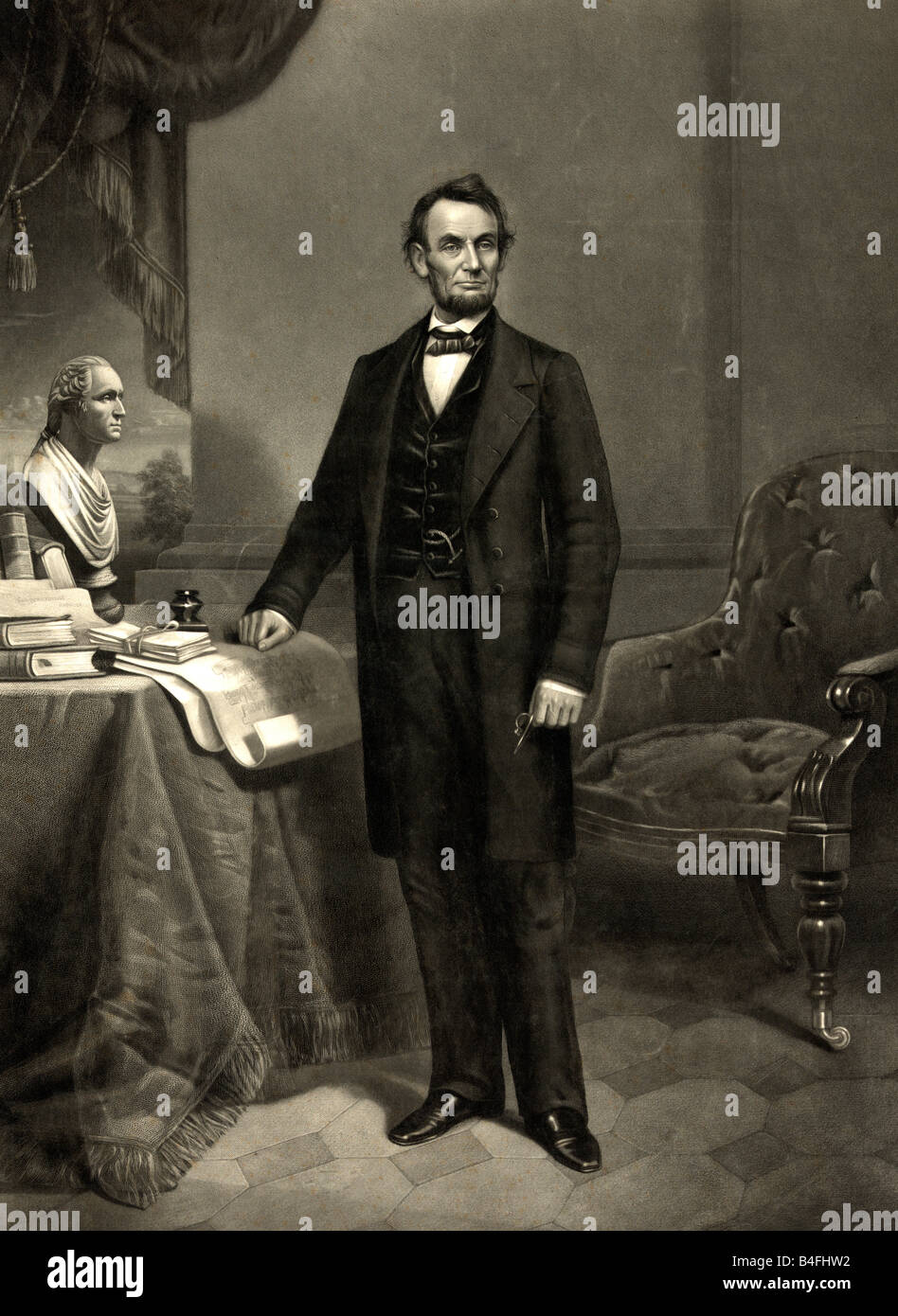 Portrait Of Abraham Lincoln 16th President Of The United