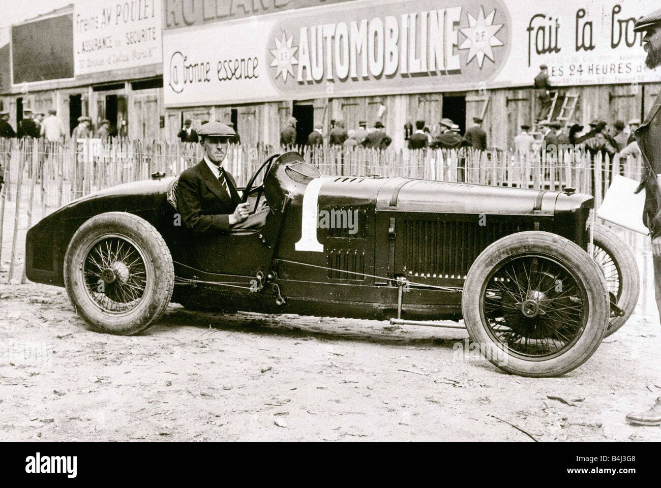 Henry Segrave with his Sunbeam motor racing car competing at the ...