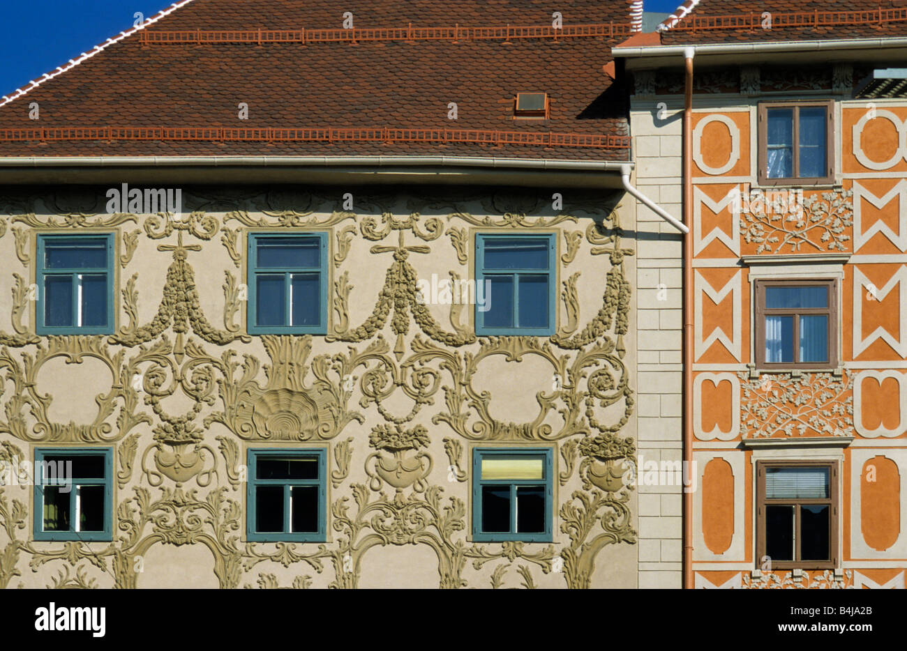 Stucco decorations on Haus am Luegg at Hauptplatz in Graz