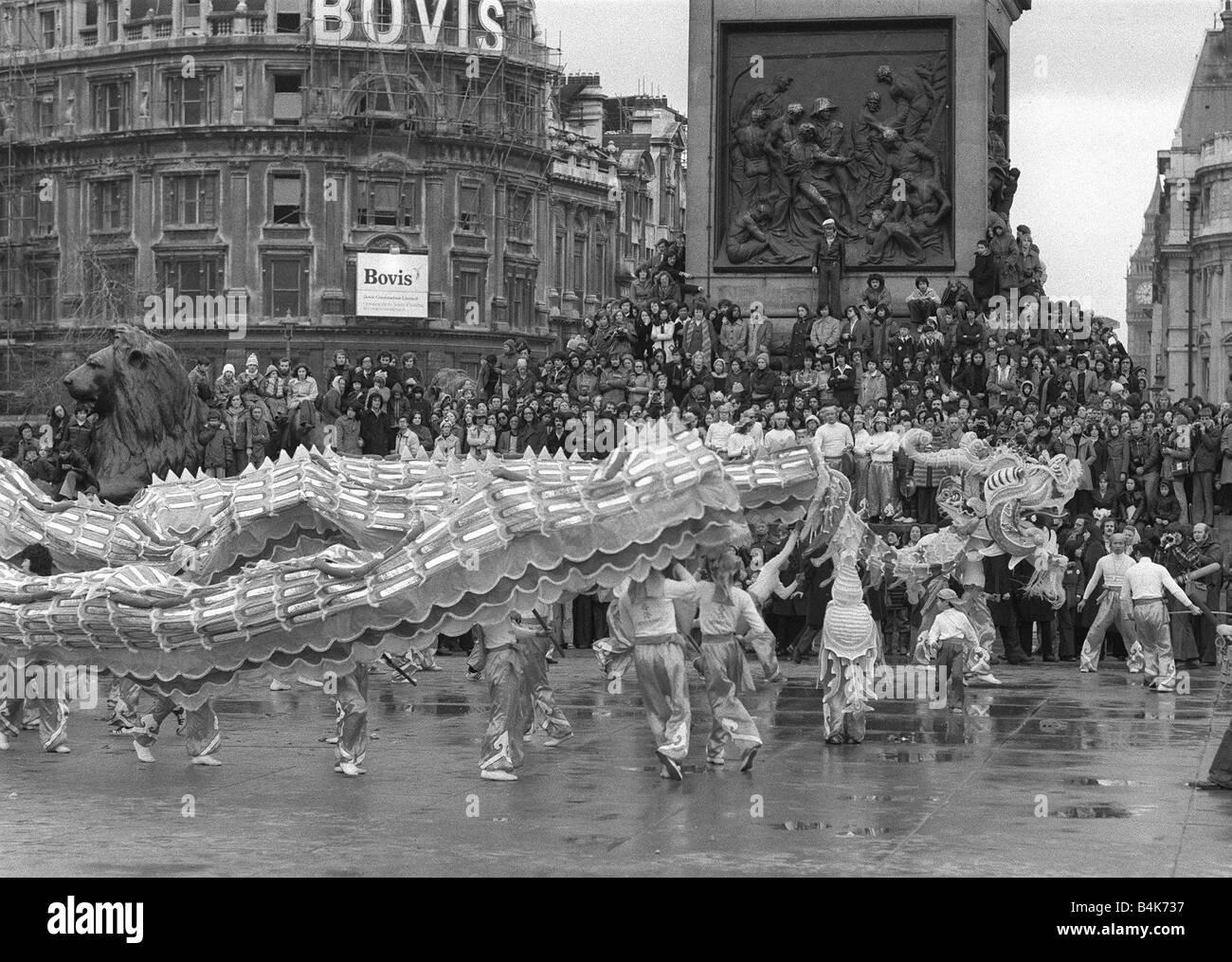 chinese new year celebration trafalgar square london february 1977 140ft chinese dragon a chinese dragon dance - Chinese New Year 1977
