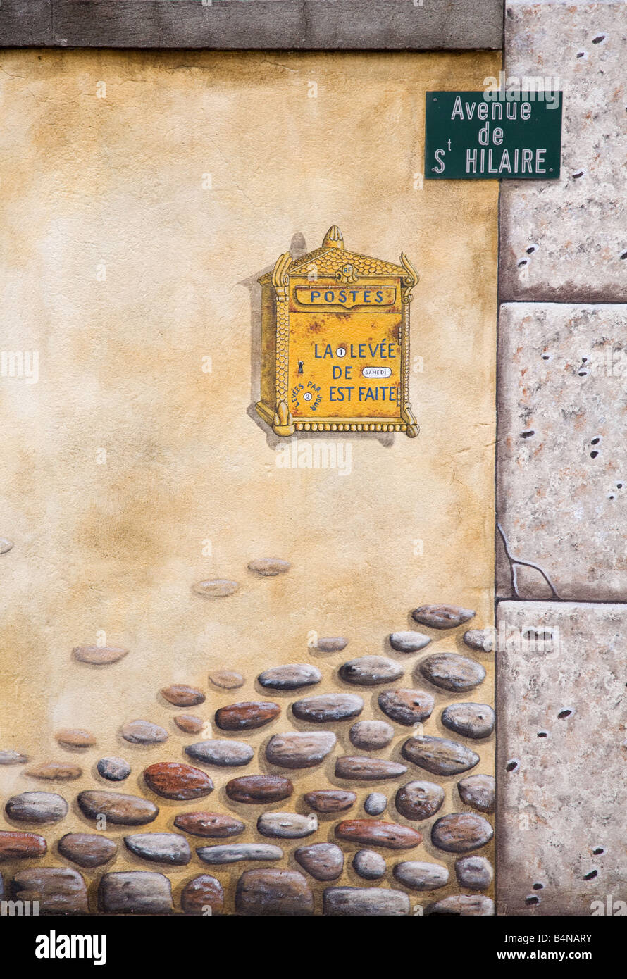 Picture of a street sign in a french wall mural in st hilaire picture of a street sign in a french wall mural in st hilaire southern france amipublicfo Image collections