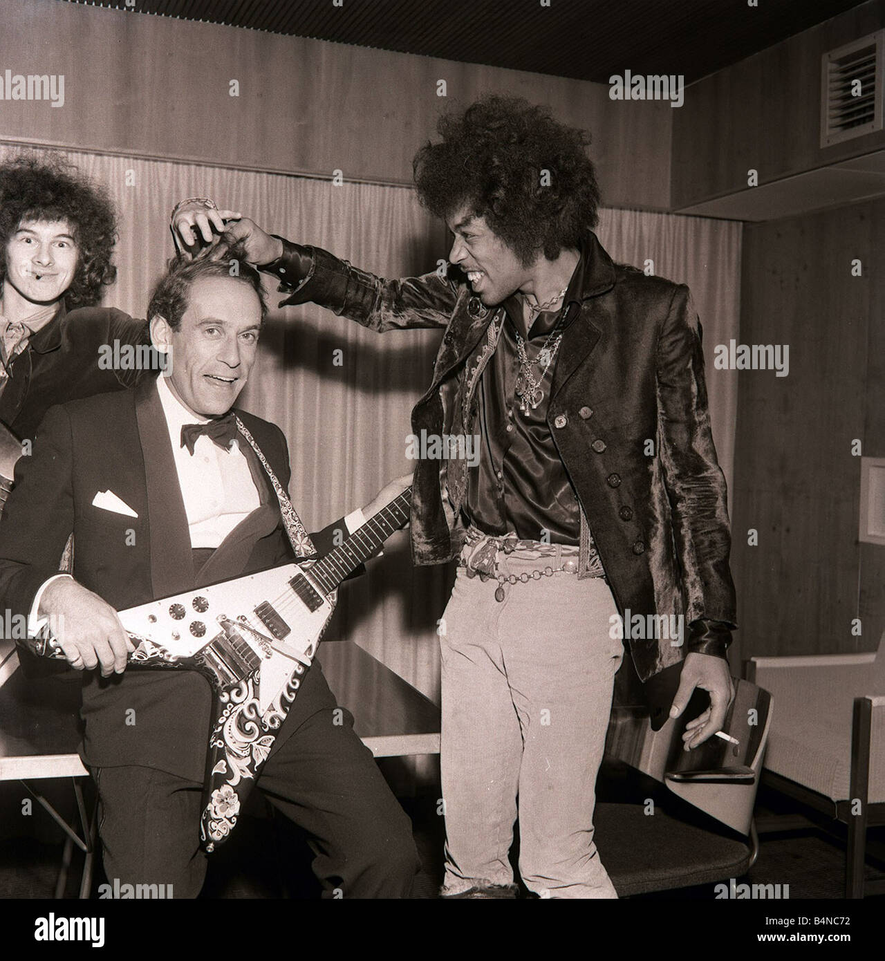 jeremy thorpe with jimi hendrix after concert by the jimi