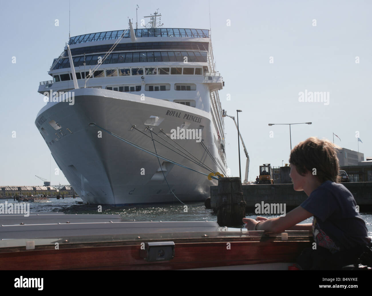Boy Watching The Royal Princess Cruise Ship Anchored In Copenhagen - Cruise ship copenhagen