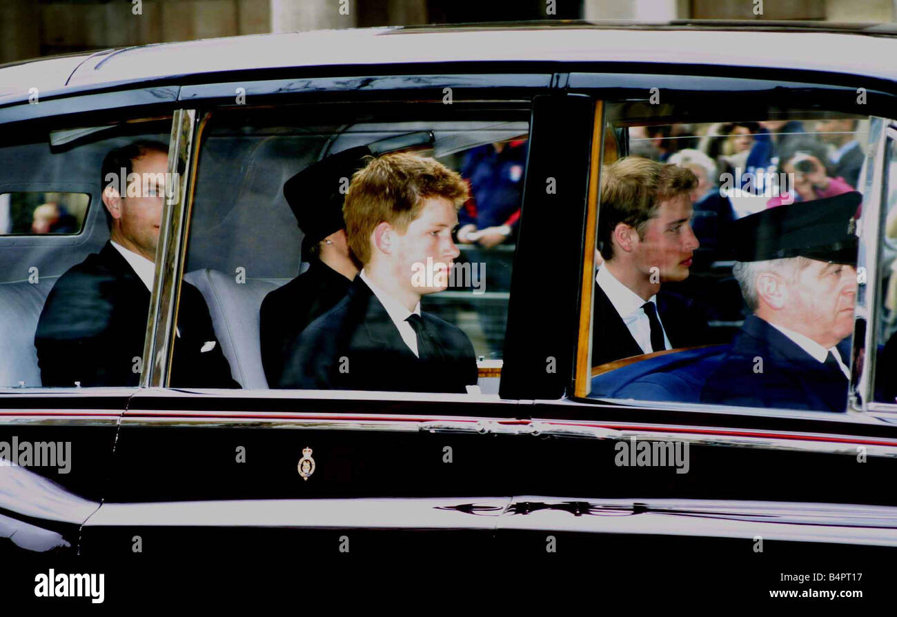 Queen Mother Funeral April 2002 Princes leave Westminster ...  Queen Mother Fu...