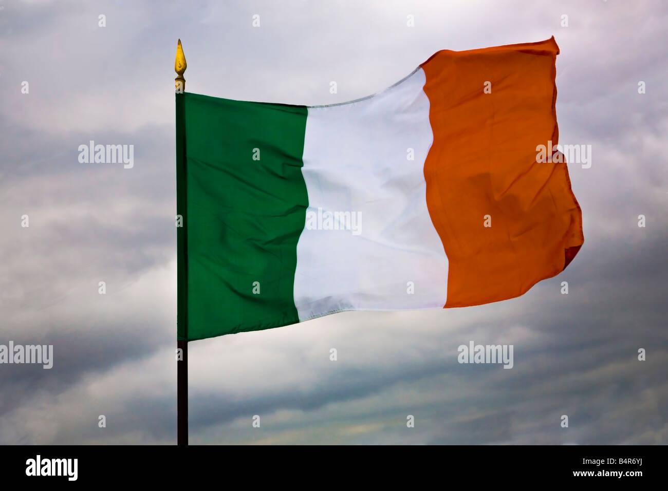 irish flag tricolour green white and orange stock photo royalty