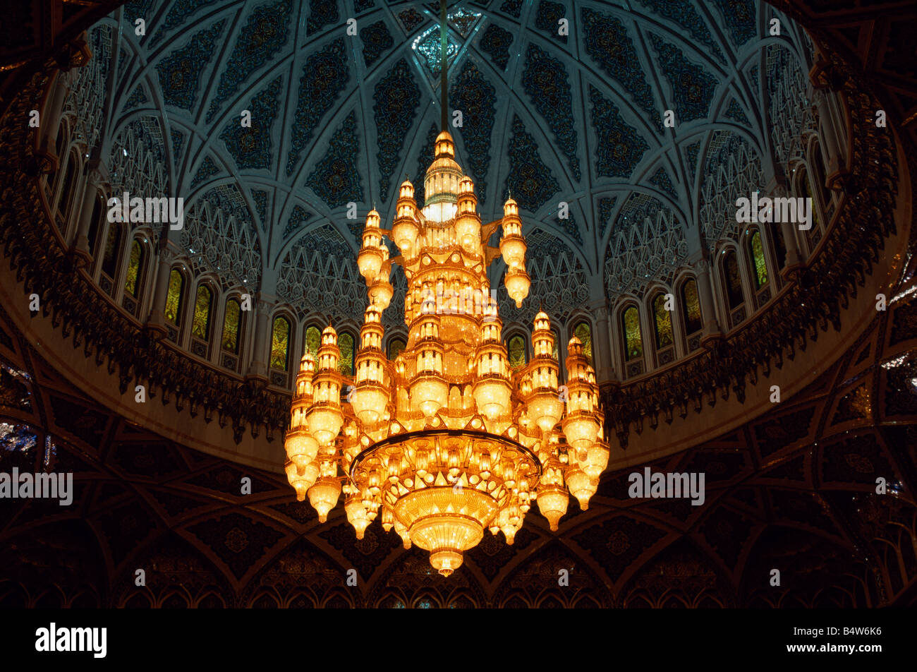 Grand Mosque In Oman Luxury Interior Cupola With Chandelier Stock Photo 11672963