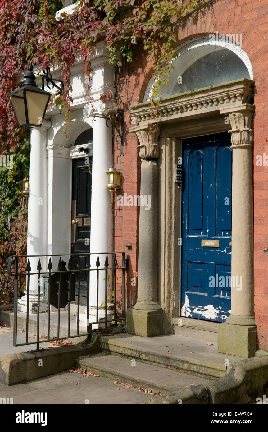 Doorways on old victorian town houses with columns and Victorian columns