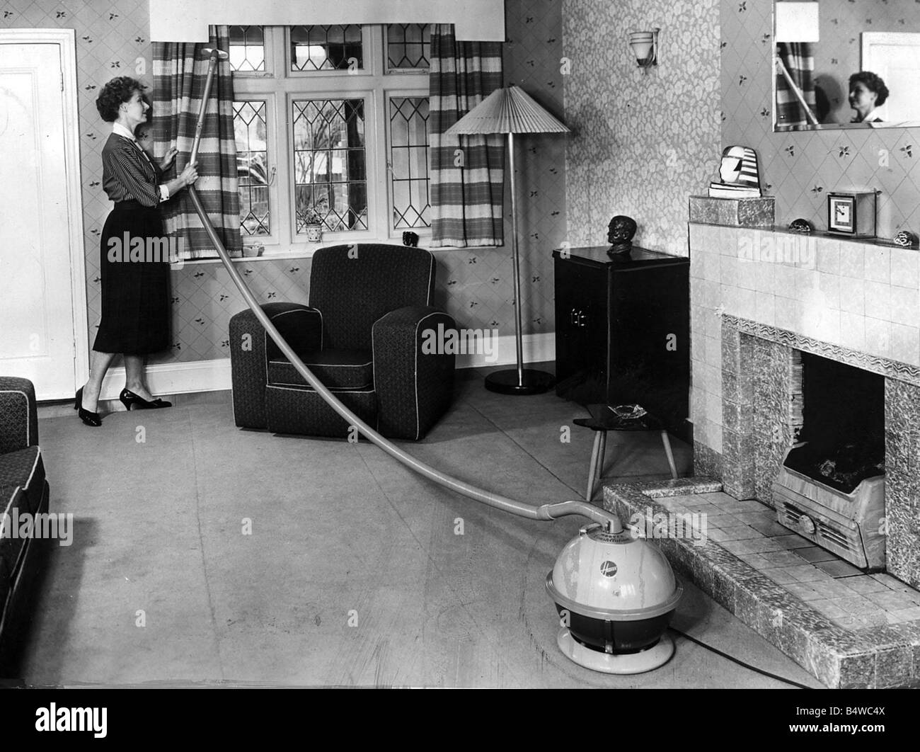 Living Room 1950s 1950s lounge living room september 1956 housewife cleaning