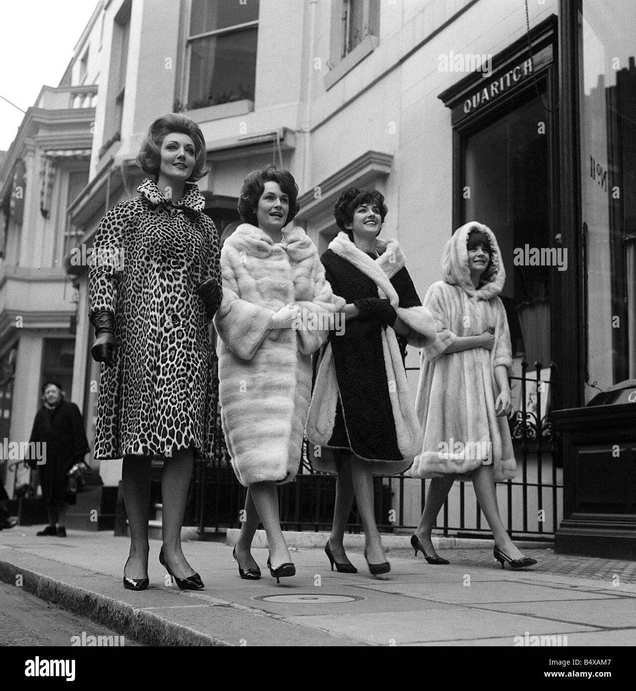 Fashion Fur Coats Feb 1962 Models In The West End Of