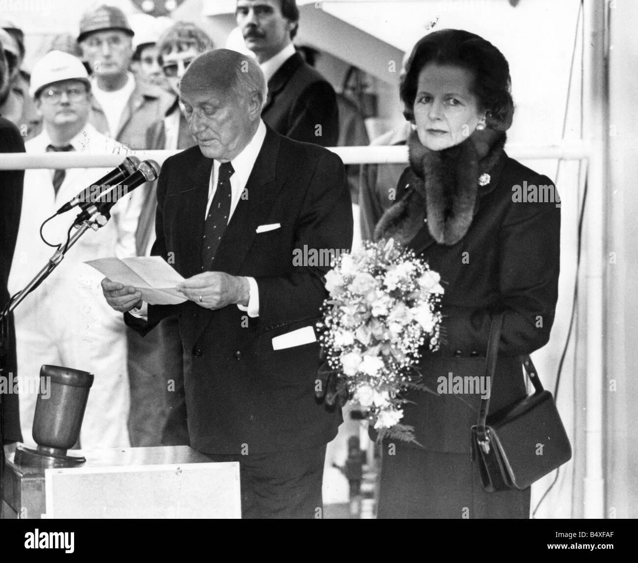Margaret Thatcher Visiting Sunderland North Sands To Name The Stena Seawell