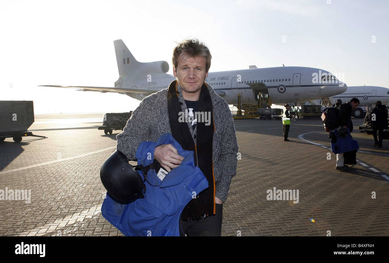 Celebrity Chef Gordon Ramsay Arrives At Raf Brize Norton To Board How To  Cook