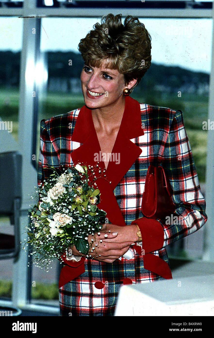 princess diana princess of wales tartan dress red collar