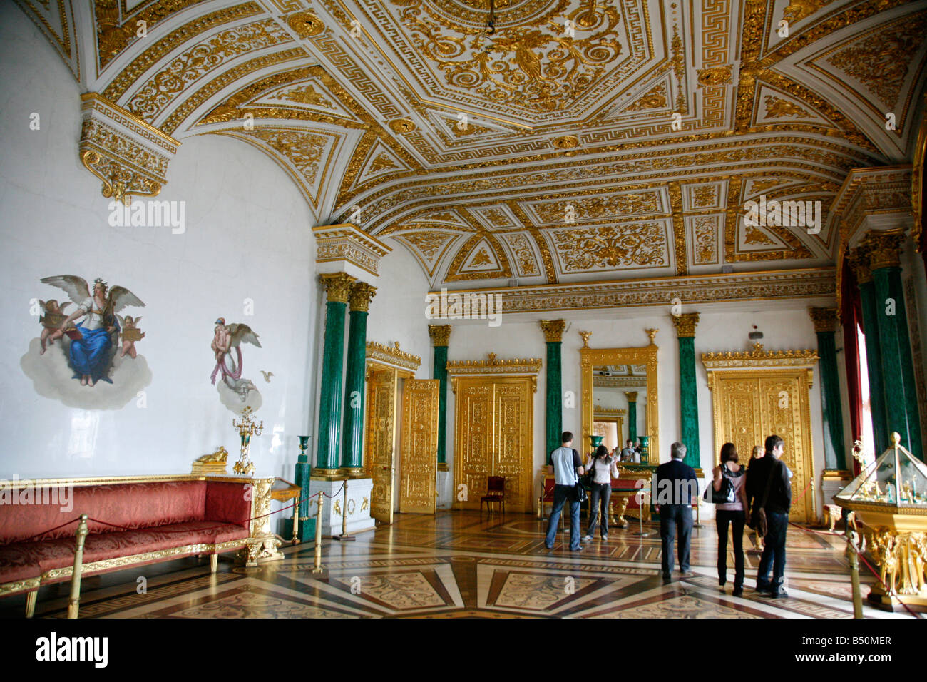 The Malachite Room At The Winter Palace Hermitage Museum