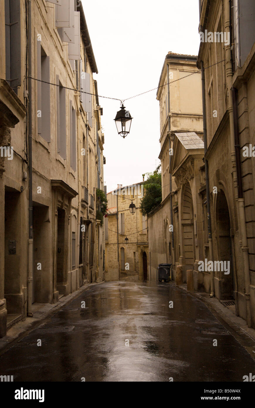 A street in the old city on a rainy day Montpellier France, October 8 Stock P...