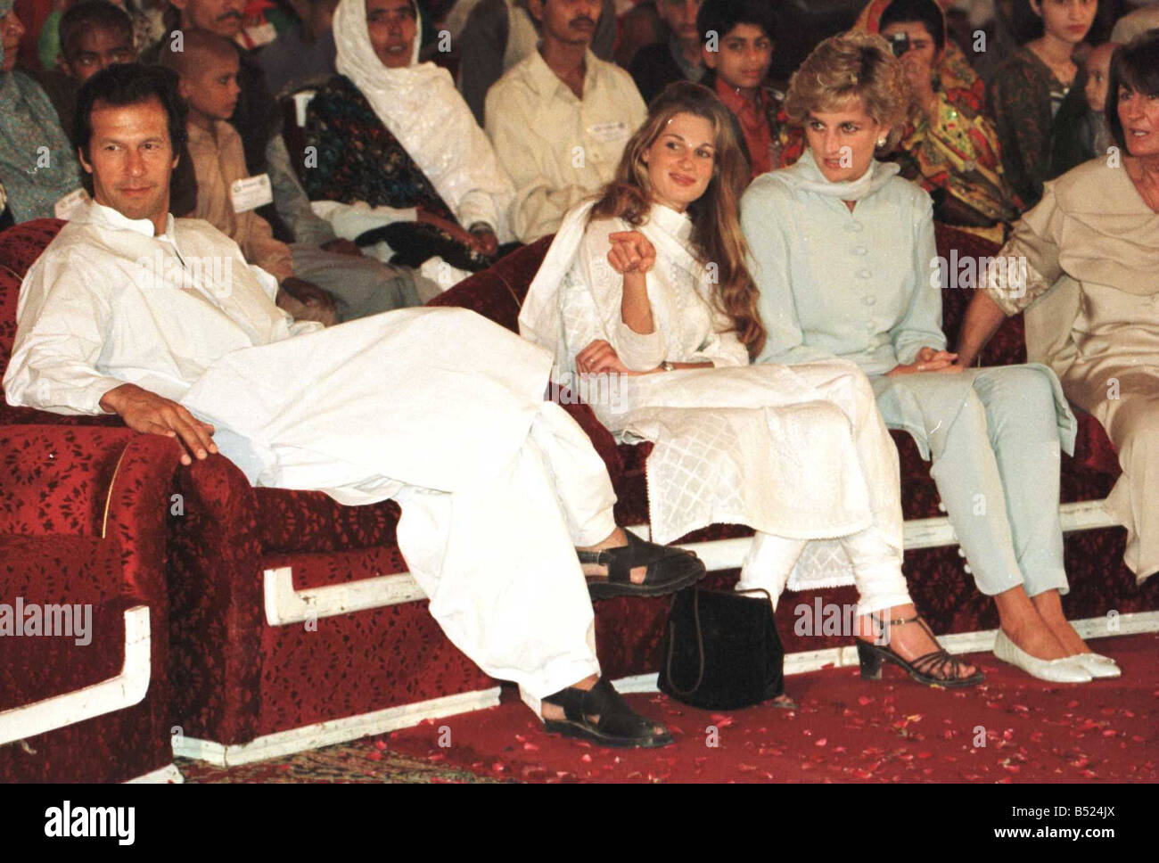 Princess Diana touches the head of Mohammed Ashrif who has lost ...