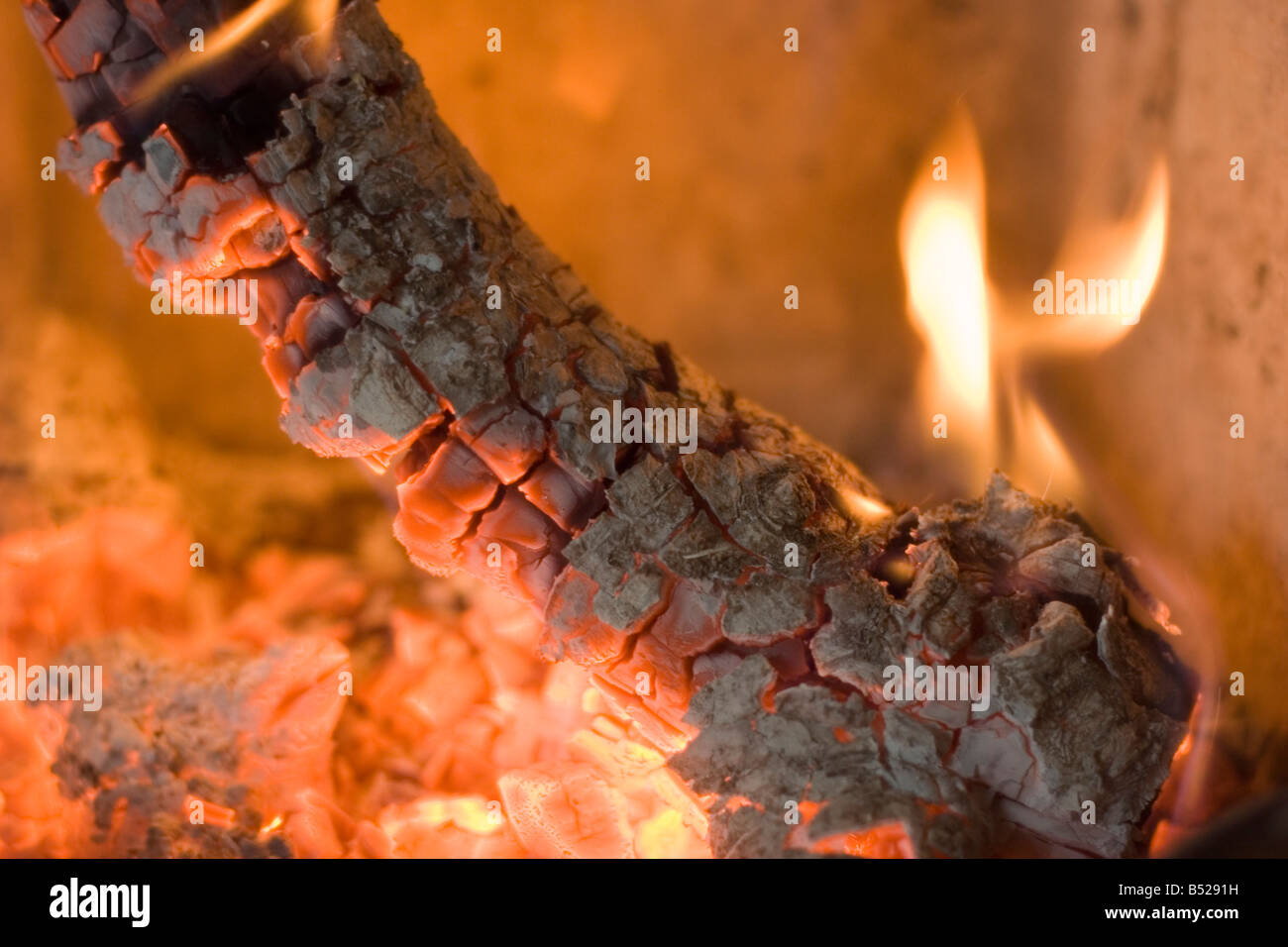 log fire in a fireplace close up of a burning log of wood stock