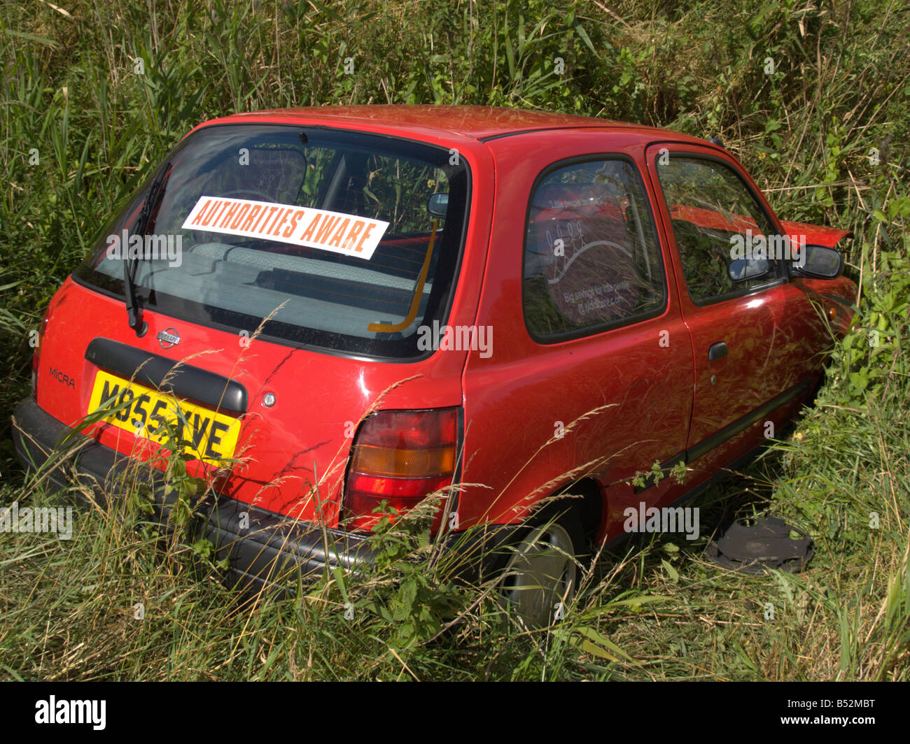 Buy Wrecked Car >> Road Traffic Car Accident Rta Skidded Off Road Red Car Field Ditch Stock Photo, Royalty Free ...
