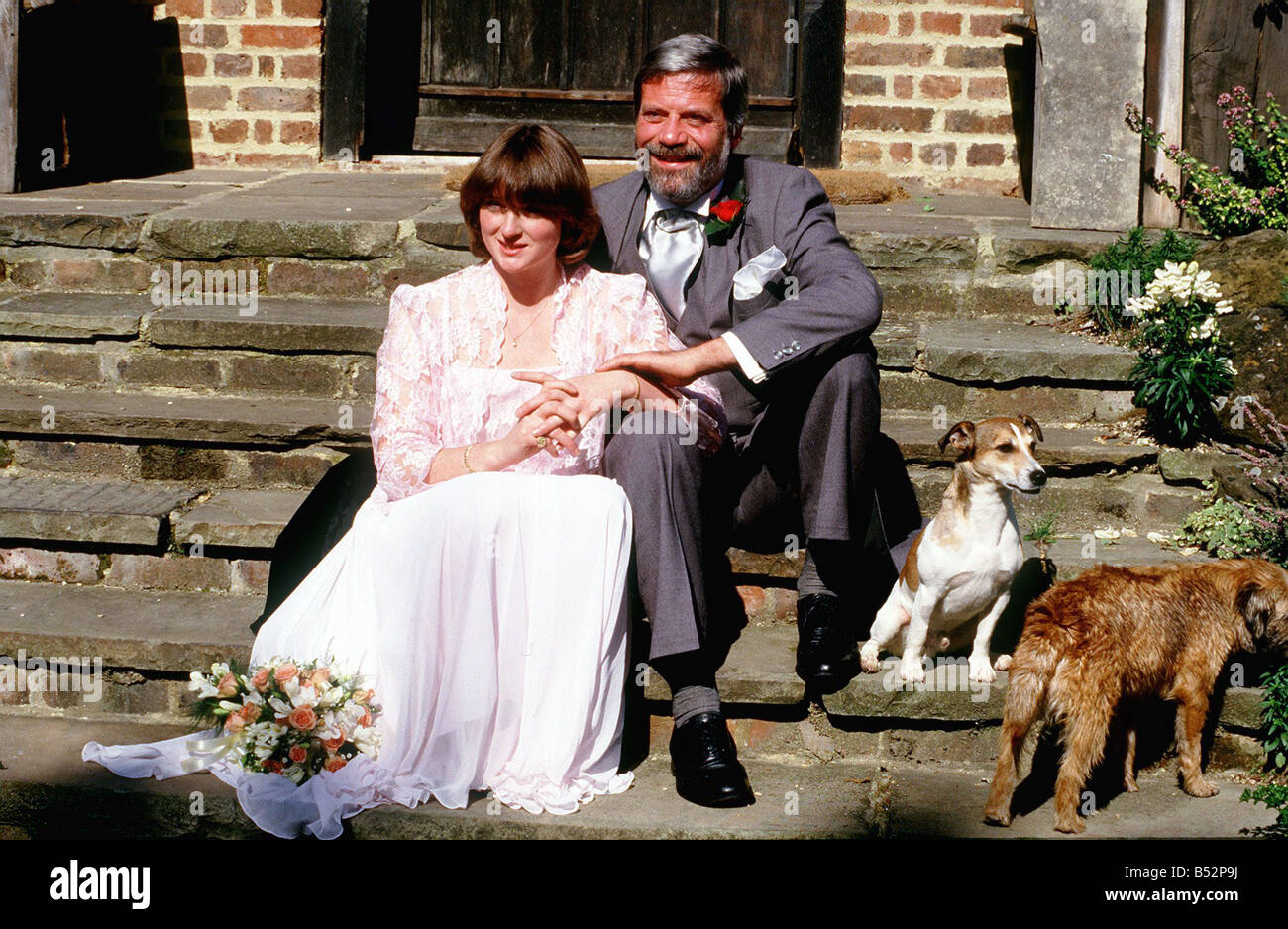 oliver reed with wife josephine burge on their wedding day