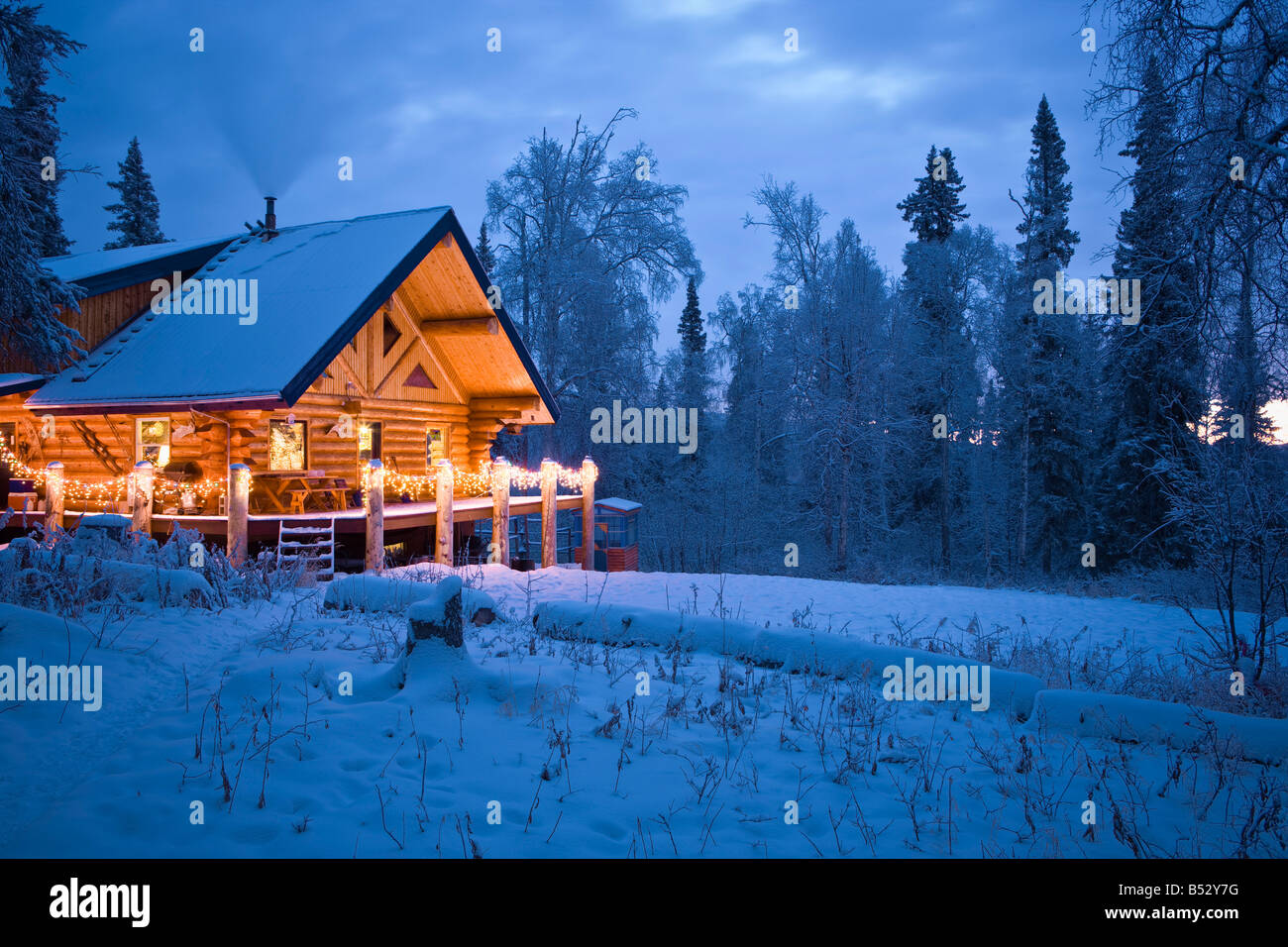 Log Cabin in the woods decorated with Christmas lights at twilight ...