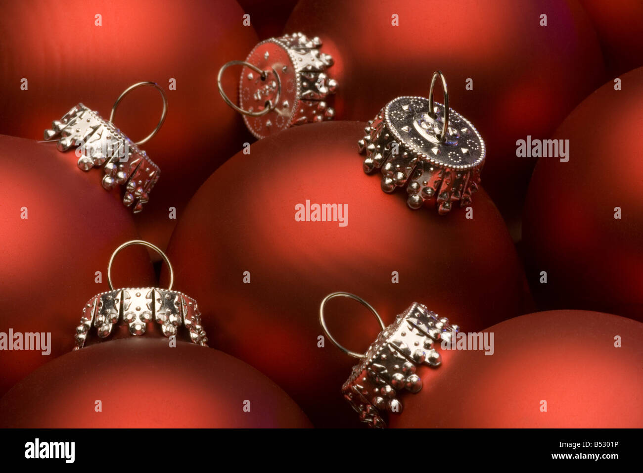 Red glass christmas ornaments - Closeup Of Red Glass Christmas Ornaments Together Studio Alaska