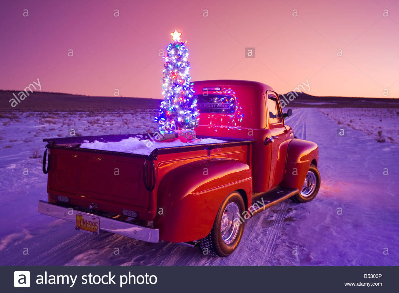 Free Christmas Tree Pick Up Part - 38: Stock Photo - Vintage Ford Pick-up Truck With Christmas Wreath And Tree In  Back Parked In Rural Area At Sunset, Rio Grande Valley, New Mexico