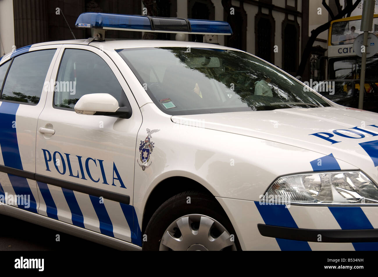 skoda police car funchal madeira portugal eu europe stock photo royalty free image 20353245. Black Bedroom Furniture Sets. Home Design Ideas