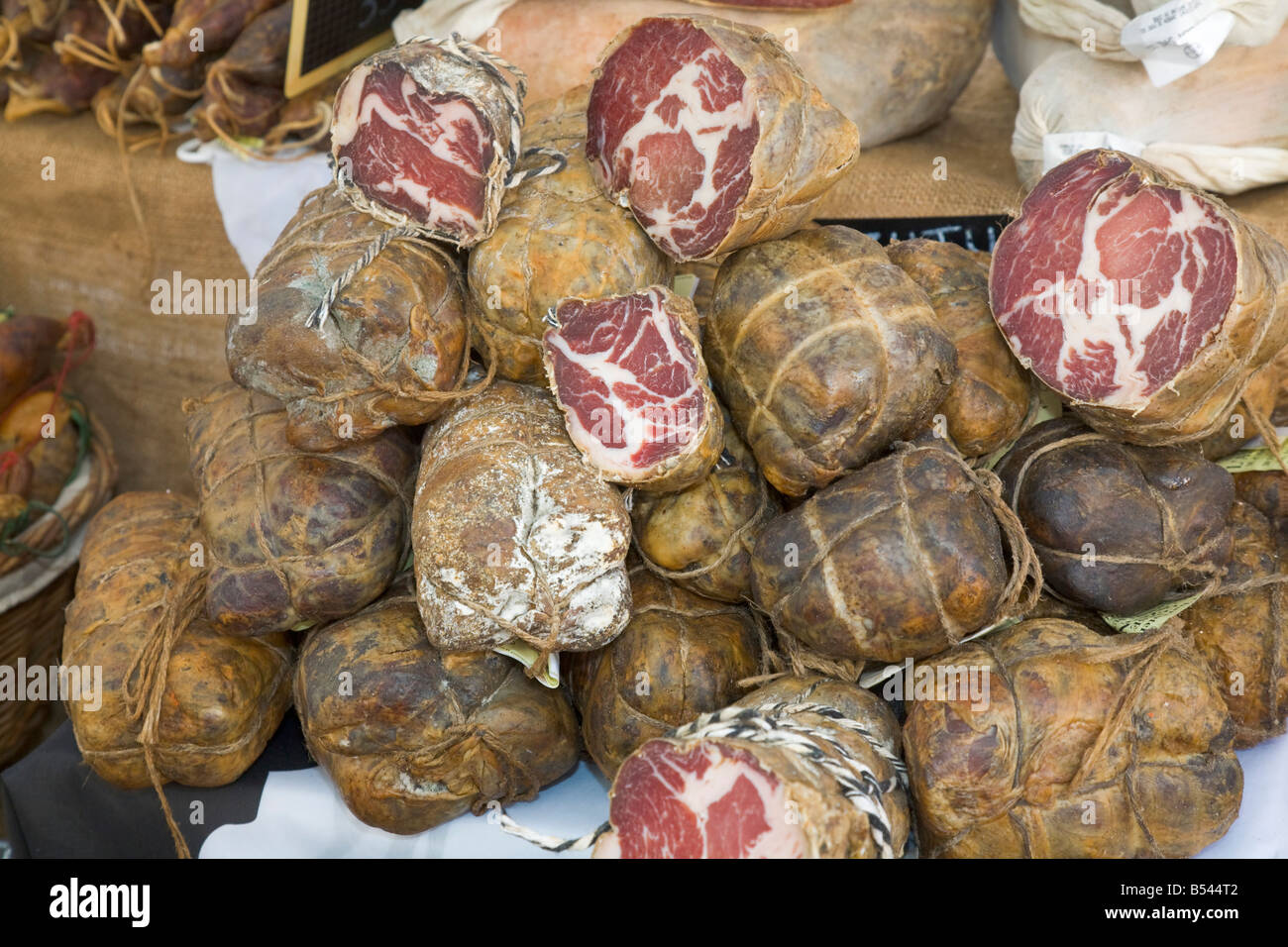 Cafe in the vieux port terra vecchia bastia corsica france stock - Coppa A Corsican Meat Product Is Being Offered At A Farmers Market In Sainte