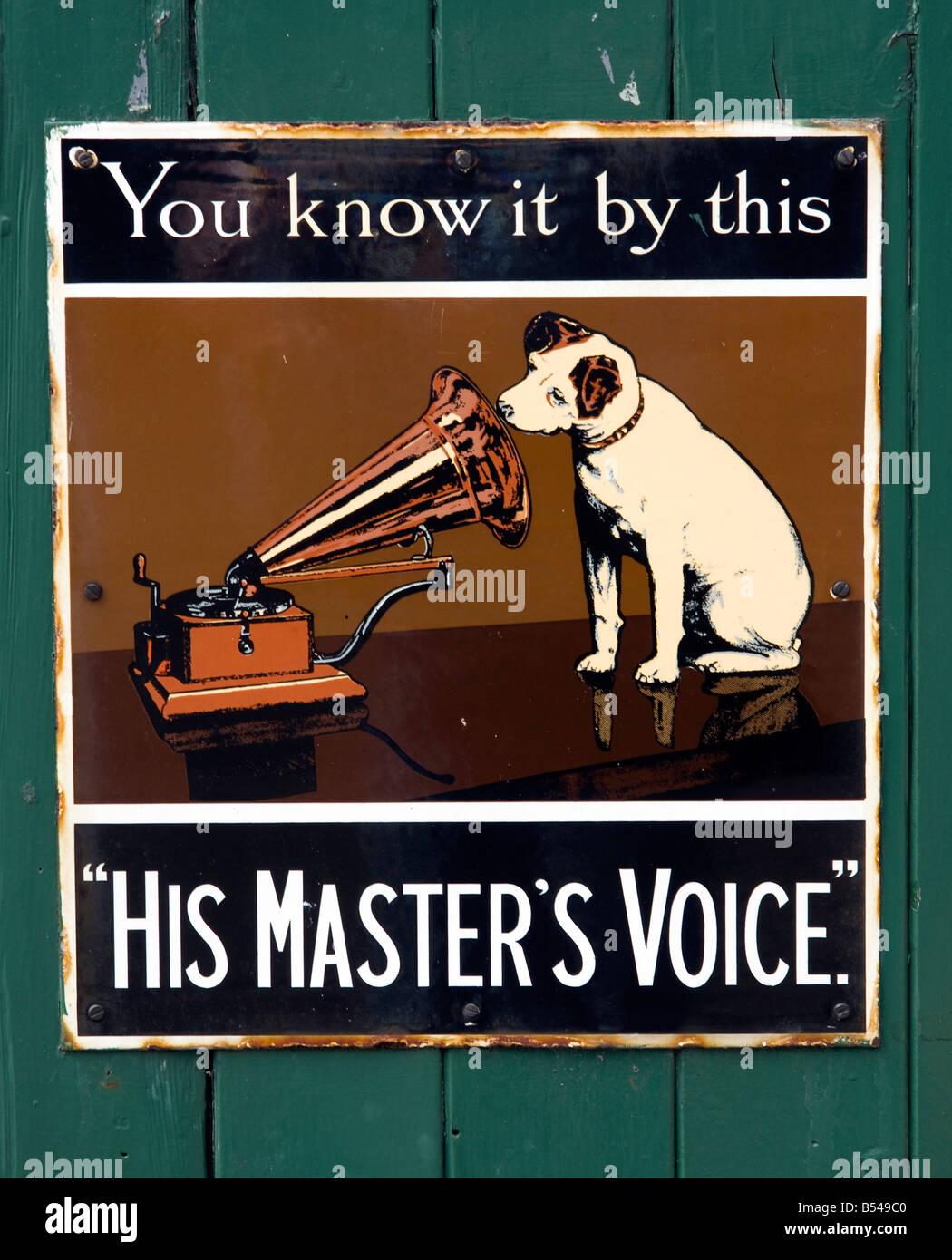 his masters voice hmv dog gramophone old advertising sign hi fi stock photo royalty free image. Black Bedroom Furniture Sets. Home Design Ideas