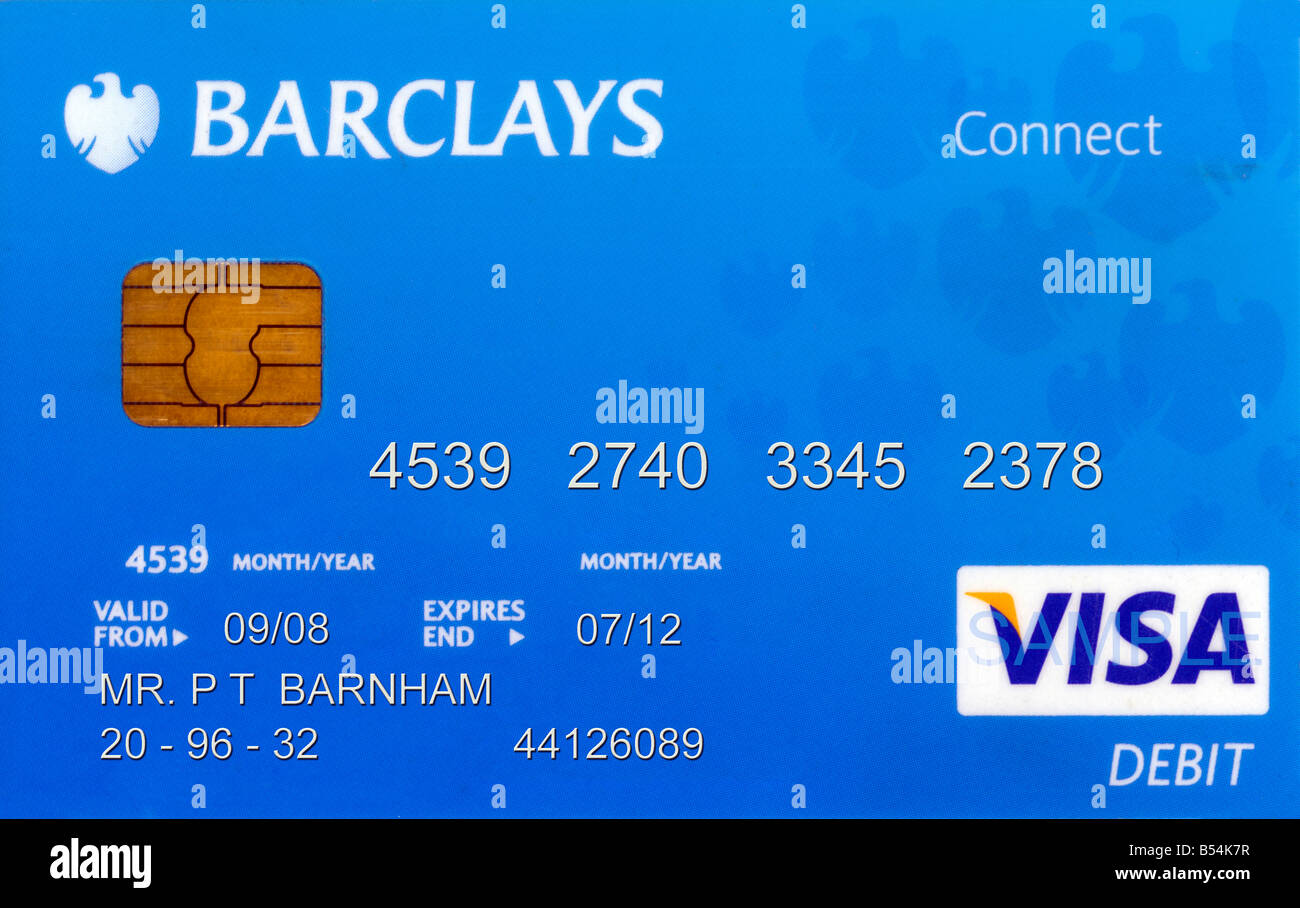 Barclays Bank Debit Card Fake Name and Numbers Stock Photo ...