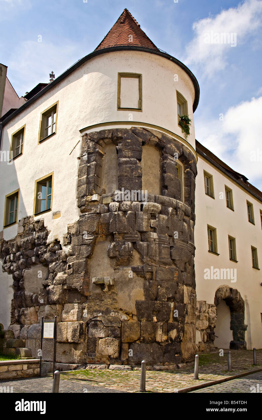 remains of the roman wall and porta praetoria arch regensburg germany stock photo royalty free. Black Bedroom Furniture Sets. Home Design Ideas