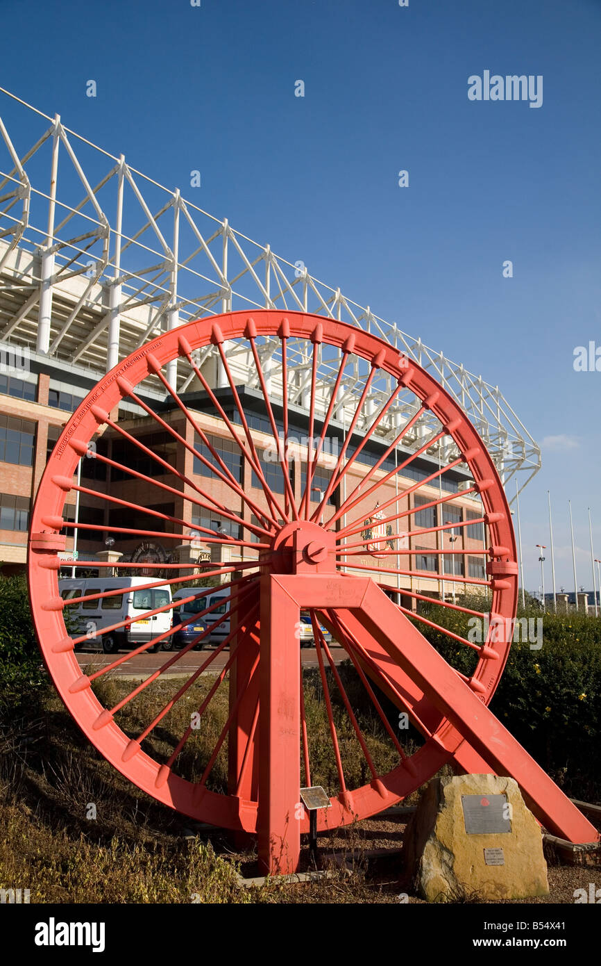 A symbolic red pit head wheel stands on the site of the former a symbolic red pit head wheel stands on the site of the former wearmouth colliery in sunderland biocorpaavc