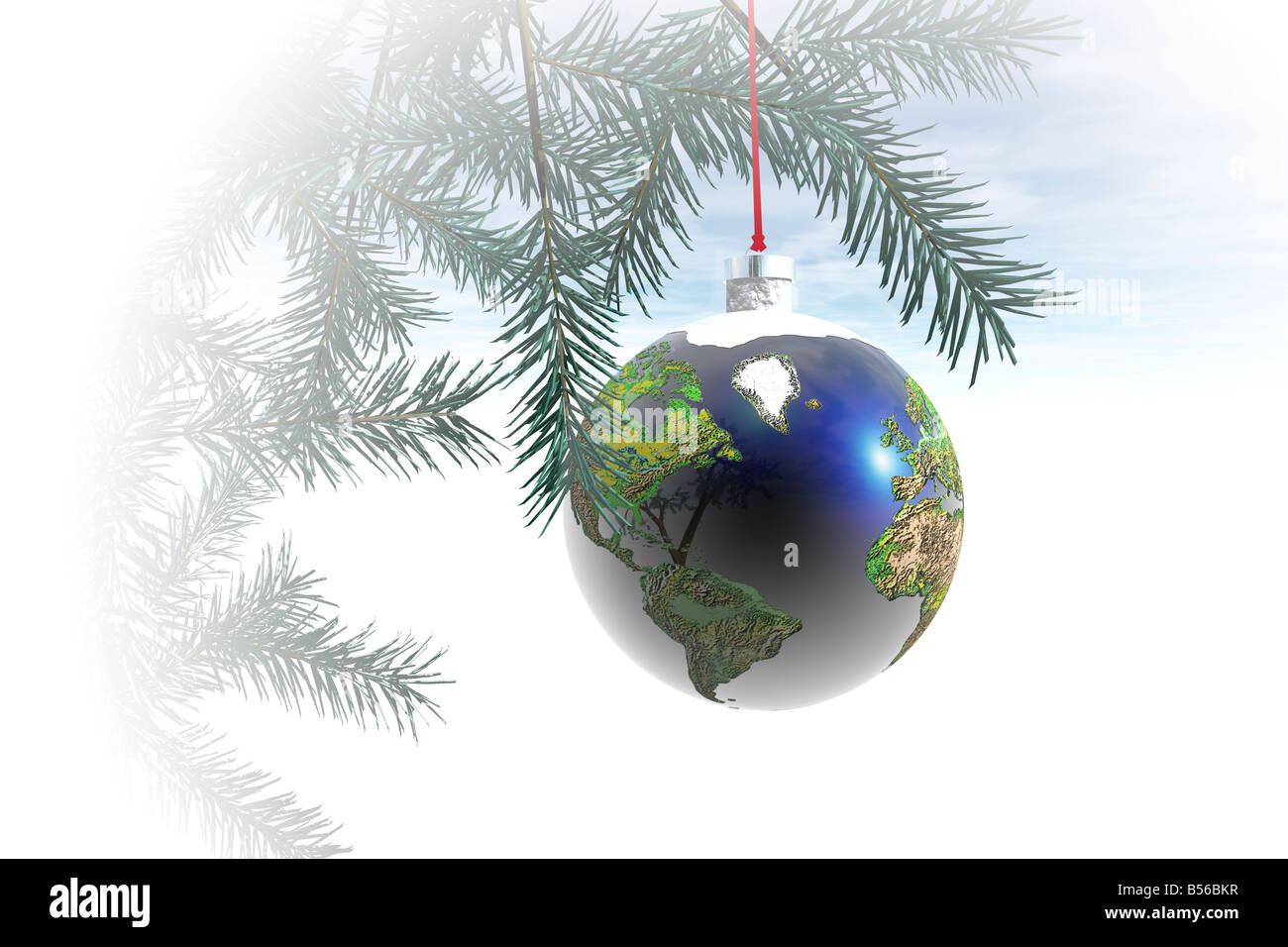 World globe christmas ornaments - Stock Photo World Globe Ornament Hanging From A Christmas Tree