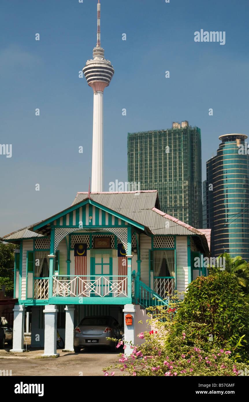 Traditional Kampung House And Modern Skyscrapers Kuala