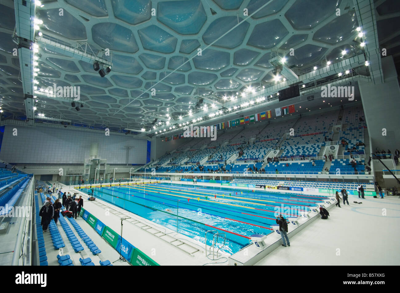 The Water Cube National Aquatics Center Swimming Arena In The Olympic Stock Photo Royalty Free