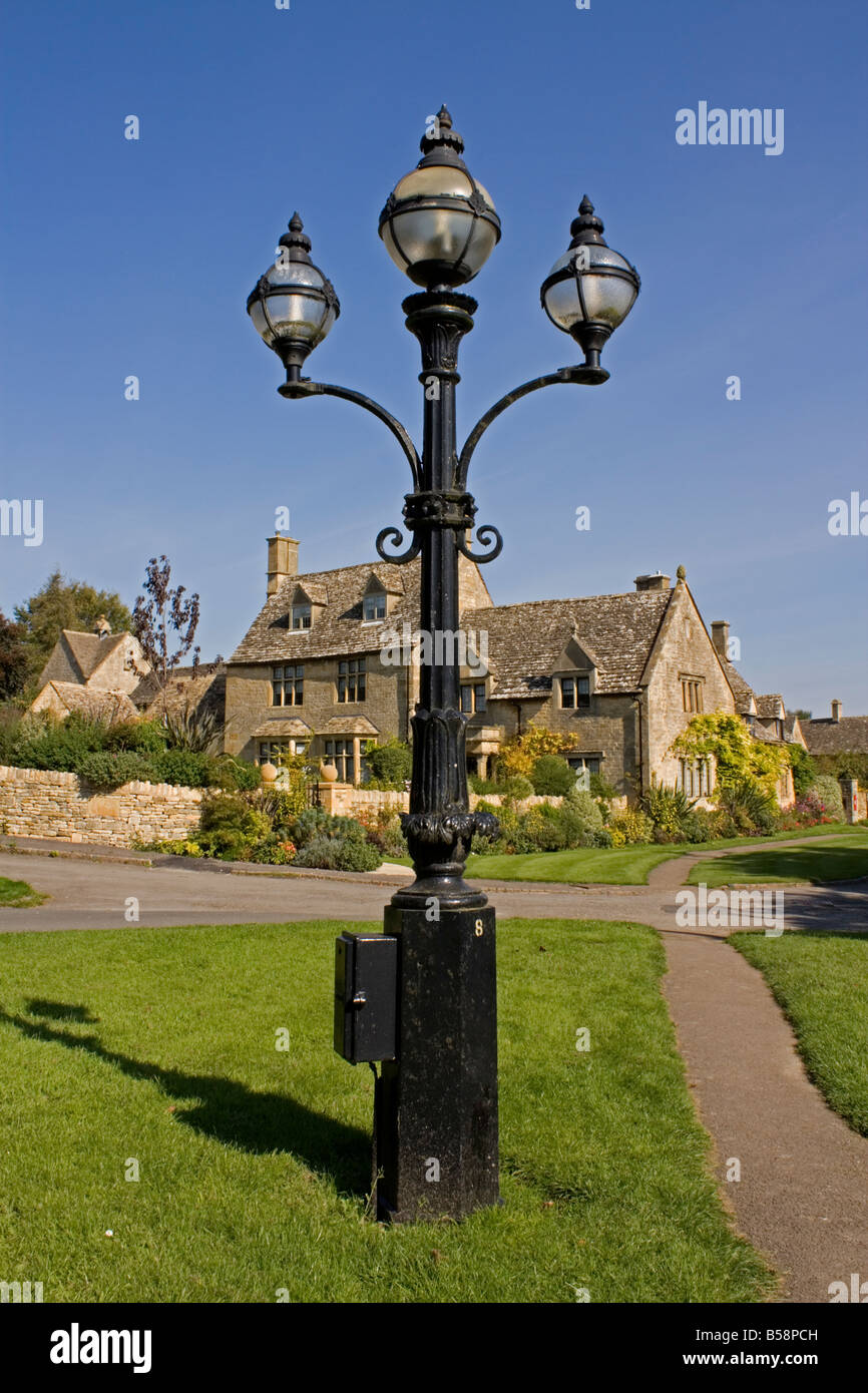 Regency lamp post in front of Cotswold stone house UK Stock Photo ... for Stone Lamp Post  110zmd