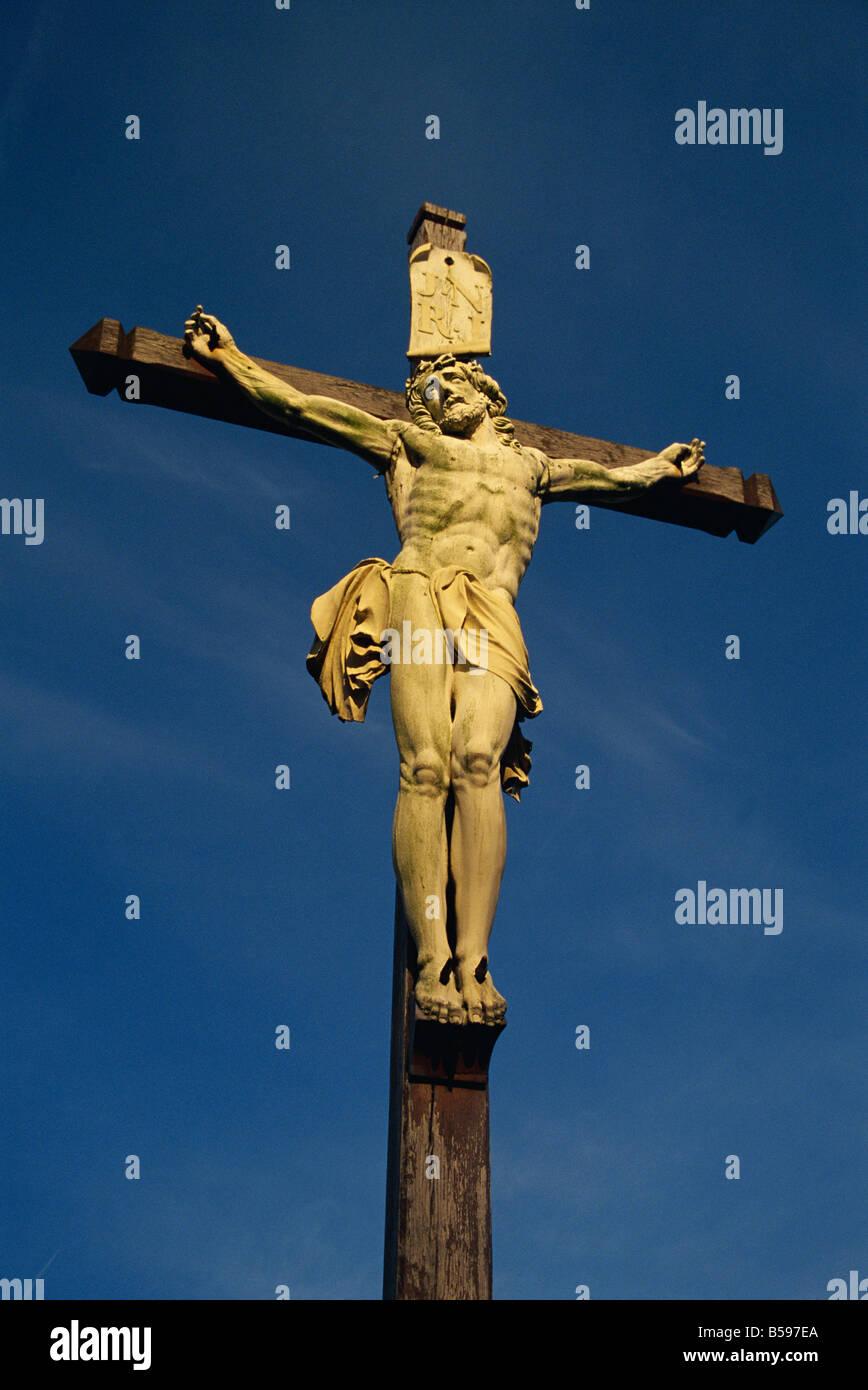 statue of jesus christ calvary near honfleur cotes de grace