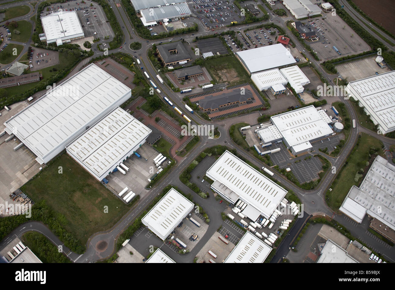 Aerial view north west of retail park business park Parkway Olivier ...