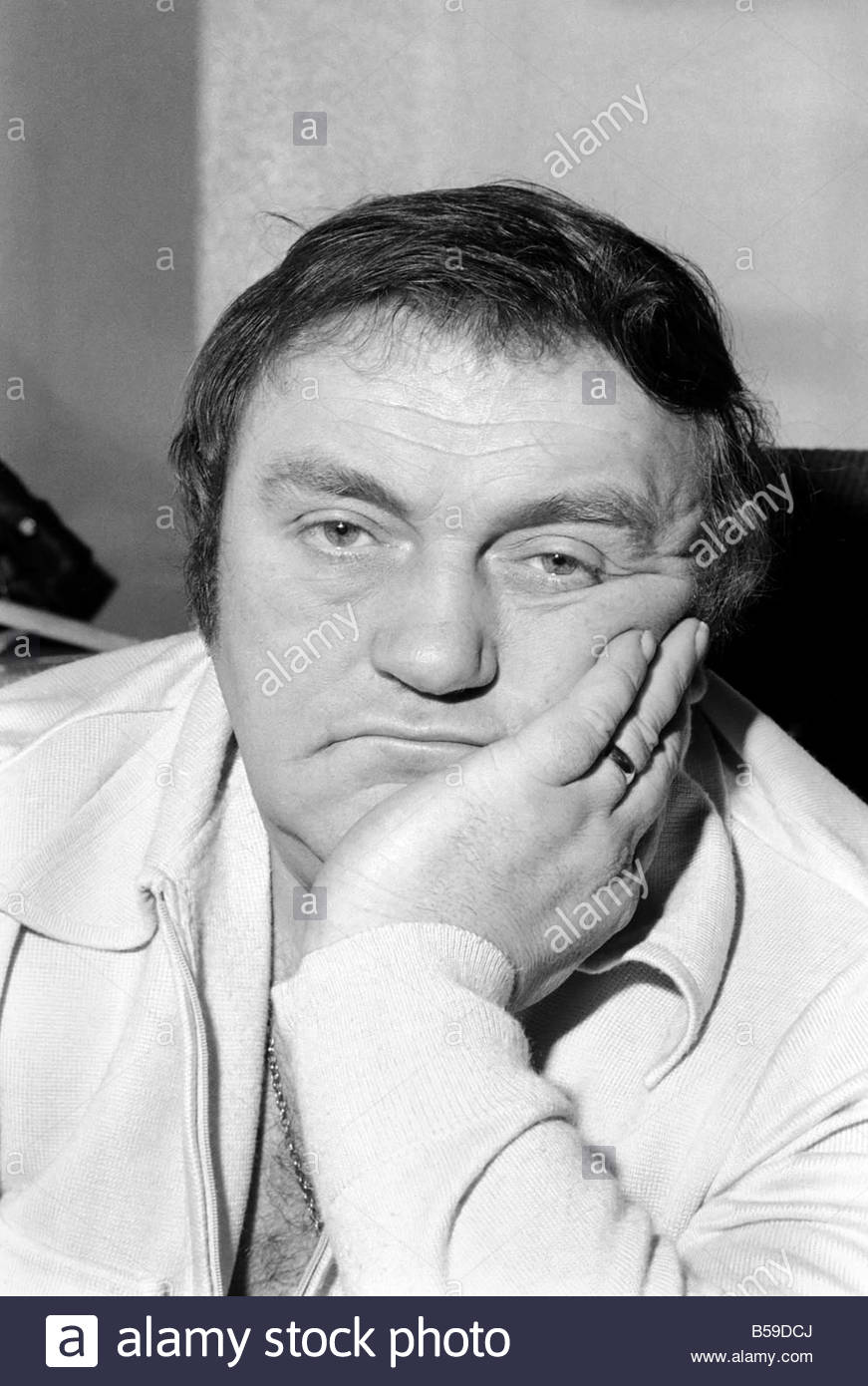 Comedian Les Dawson in his dressing room at Yorkshire Television studios.